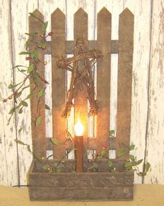 Primitive  Garden Fence Box Light Decorated