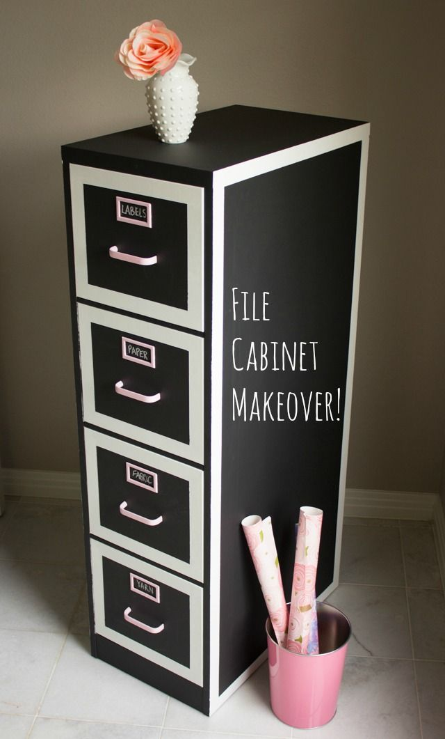 Filing cabinet makeover using chalkboard paint. Love the white borders!