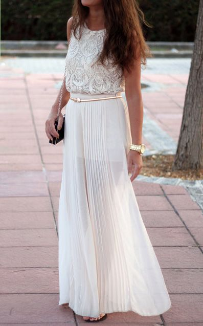 gorgeous white pleated chiffon maxi skirt.  groom's dinner picnic outfit?