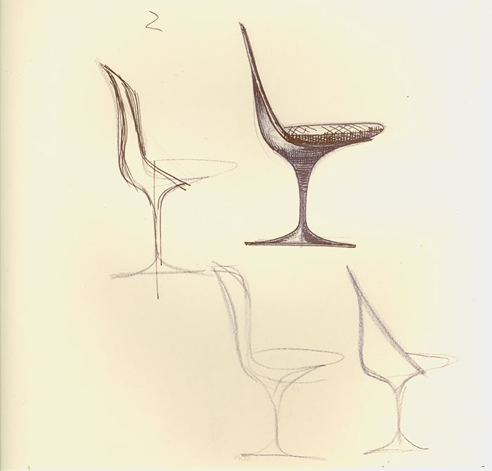 Sketches for Tulip Chair, 1958 by Eero Saarinen | Knoll Inspiration