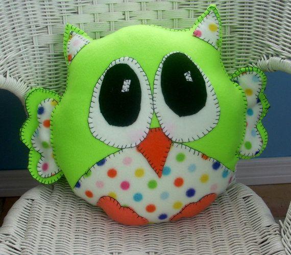 Lime green and polka dot plush owl pillow,animal pillow,plushie owl,childsafe pillow,handsewn owl,childs toy,nursery, baby's room Lime green and polka dot plush owl pillow,animal pillow,plushie owl,childsafe…