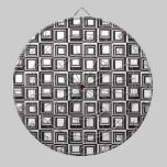 Contemporary Black and White Squares Pattern dartboards