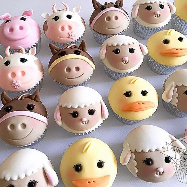 Farm animals cupcakes