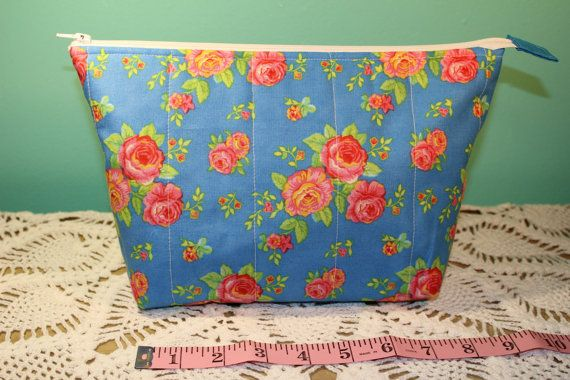 Flat Bottom  Lined  Padded  Blue Floral Bag by KRaeDesign on Etsy
