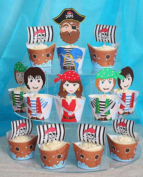Wrappers de petit gâteau pirate par PartyIdeasUK sur Etsy