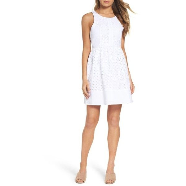 Women's Nsr Eyelet Fit & Flare Dress ($88) ❤ liked on Polyvore featuring dresses, white, night out dresses, fit flare dress, eyelet dresses, fit and flare dress and eyelet lace dress