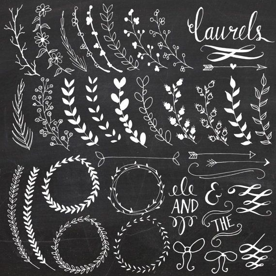 Chalkboard Laurels Wreaths Clip Art // Plus Photoshop Brushes // Hand Drawn // Ribbon Foliage Leaves // Vector // Commercial Use