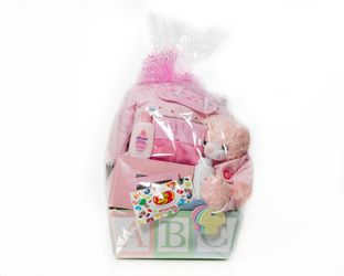 "Baby Girl ""Teddy Time"" Basket  Blanket, Bib, Jumper outfit, Photo Album, Wash Cloths, Stuffed Animal, Baby Powder and a Yummy Treat for Mom or Dad  $100.00 CAD"
