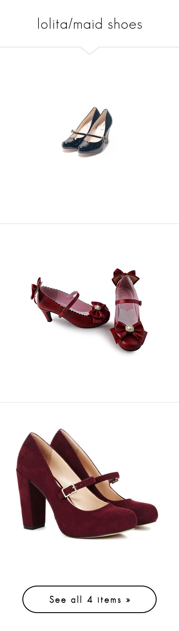 """""""lolita/maid shoes"""" by tyuionki ❤ liked on Polyvore featuring shoes, lolita, heels, red, red shoes, cos shoes, pumps, sapatos, burgundy and burgundy pumps"""