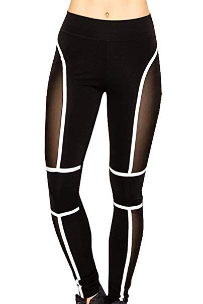 89c5965b54 Runner Island Womens Cyberspace Workout Leggings Sexy Mesh High Waist Tummy  Control Compression Black White at