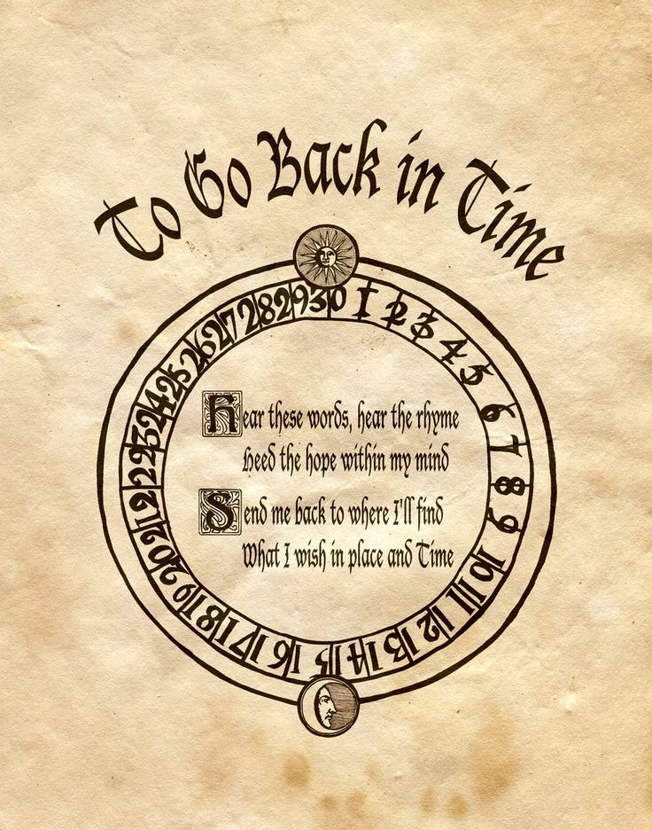 """Book of Shadows:  """"To Go Back In Time,"""" by Charmed-BOS, at deviantART.  I'm not sure why anyone would want to go back in time, seems to me too many people are already living in the past."""