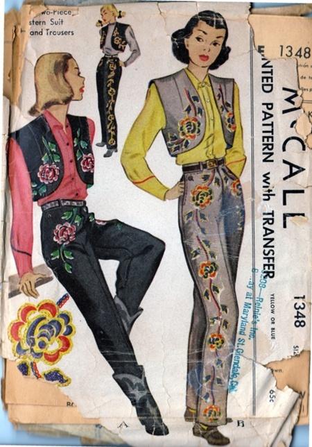 """mepa p.USA PUSA ropa muy tipica d gaucho, ropa pienso q cowgirl x botas y x q dice western, clickear en foto pues dice """" sugiere la vestimenta de gala usado en los primeros días de Occidente, de propiedad española"""".   McCall's 1348 from 1947"""
