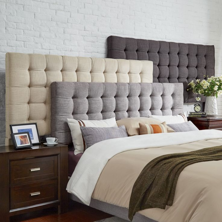 Briella On Tufted Linen Upholstered Full Size Headboard By Mid Century Living Grey