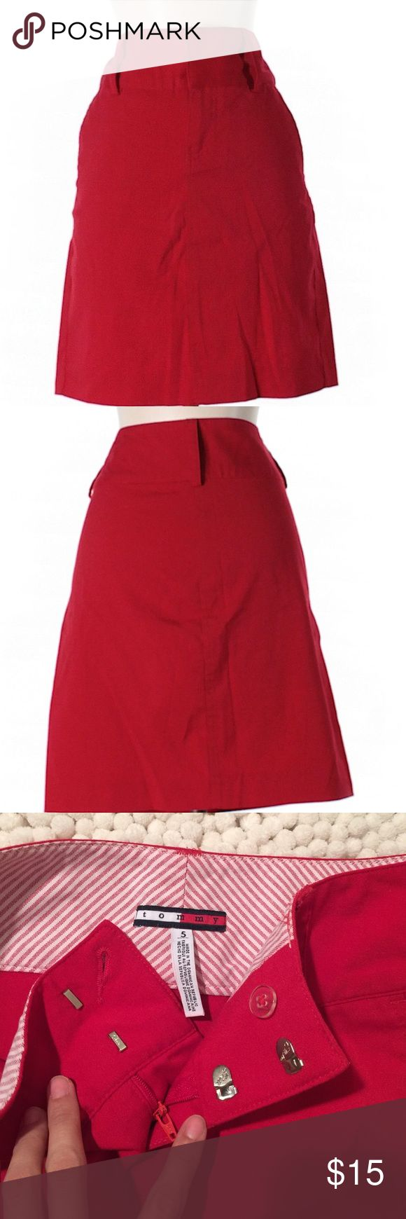 """Tommy Hilfiger Skirt Red Tommy Hildiger skirt in a size 5 Jr. 18"""" long. 64% polyester, 34% rayon and 2 Lycra. Two front pockets. In great conditions. Tommy Hilfiger Skirts Midi"""