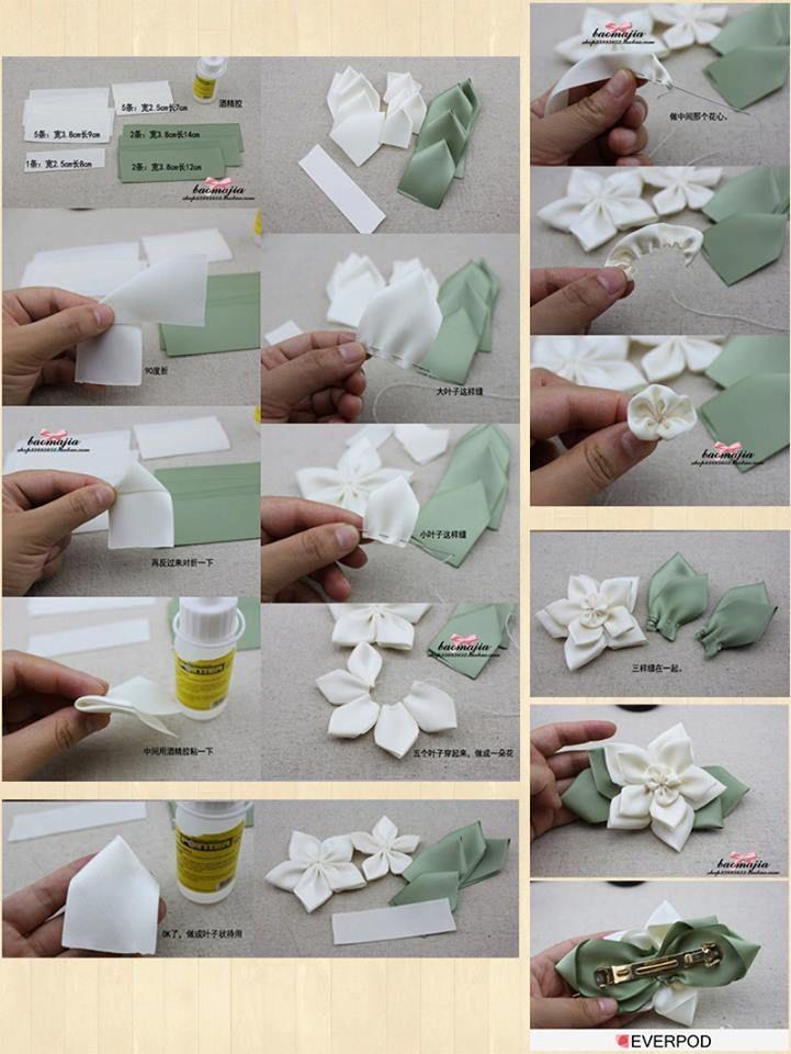 Faça Você Mesmo - Presilha com flor de fuxico branca