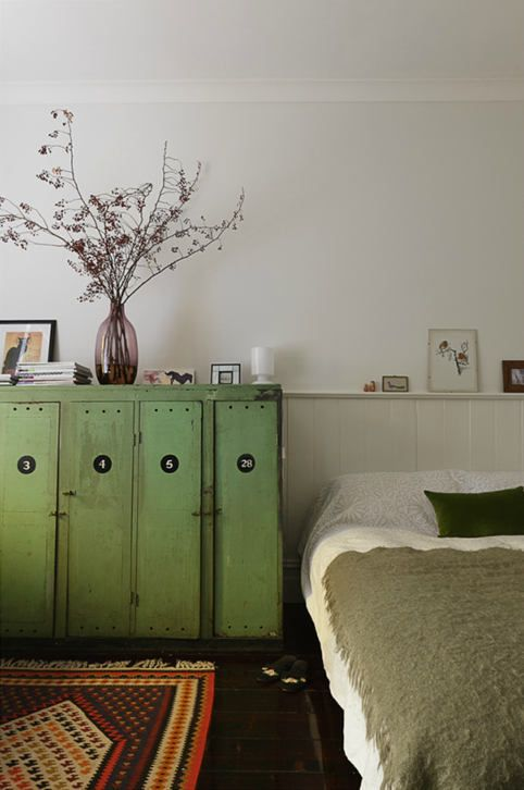 lockers in green.Cabinets, Decor, Colors, Interiors, Cupboards, Lockers Storage, Bedrooms, Furniture, Vintage Green