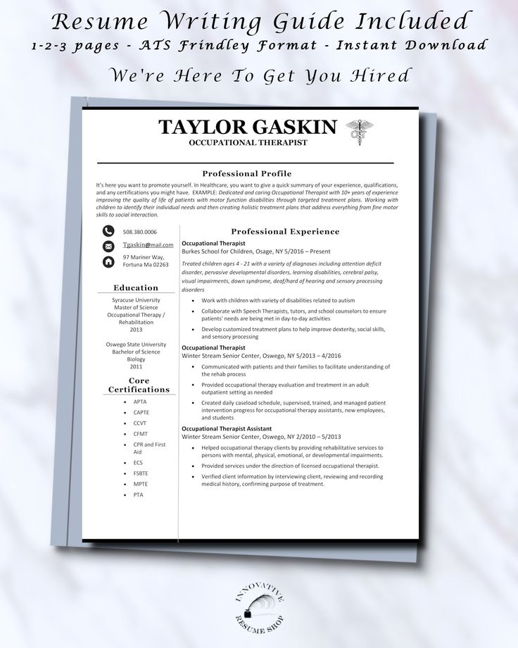 Occupational therapist and assistants resume template w