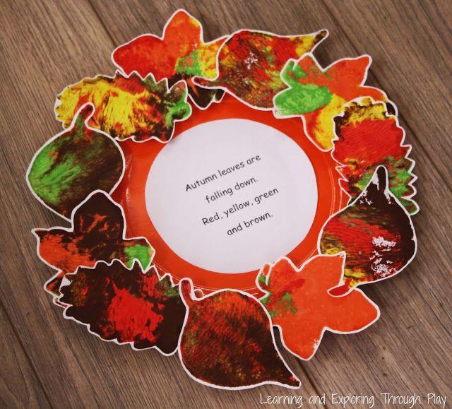 Lovely Autumn Craft Ideas For Kids Part - 13: Leaf Wreath Poem Autumn Craft