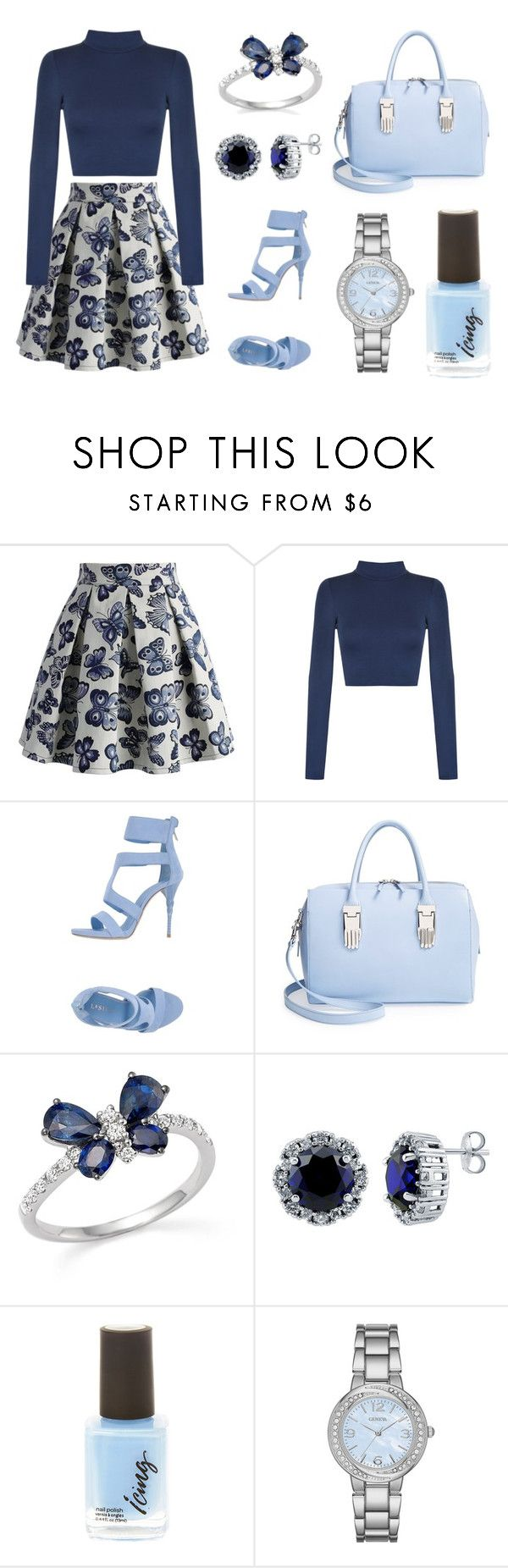 """Blue Butterfly"" by alphashe on Polyvore featuring Chicwish, WearAll, Le Silla, Opening Ceremony, Bloomingdale's, BERRICLE and Geneva"