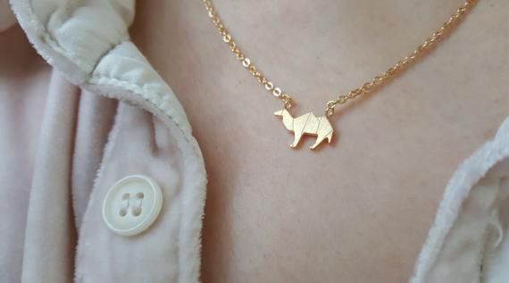 18k Gold Origami Camel necklace,Camel necklace,Origami necklaces,Best friends necklace,Birthday gift,Bridesmaid Gift,Christmas gift