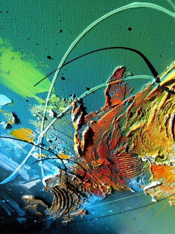 ... peinture acrylique en relief noir vert bleu blanc jaune orange doré