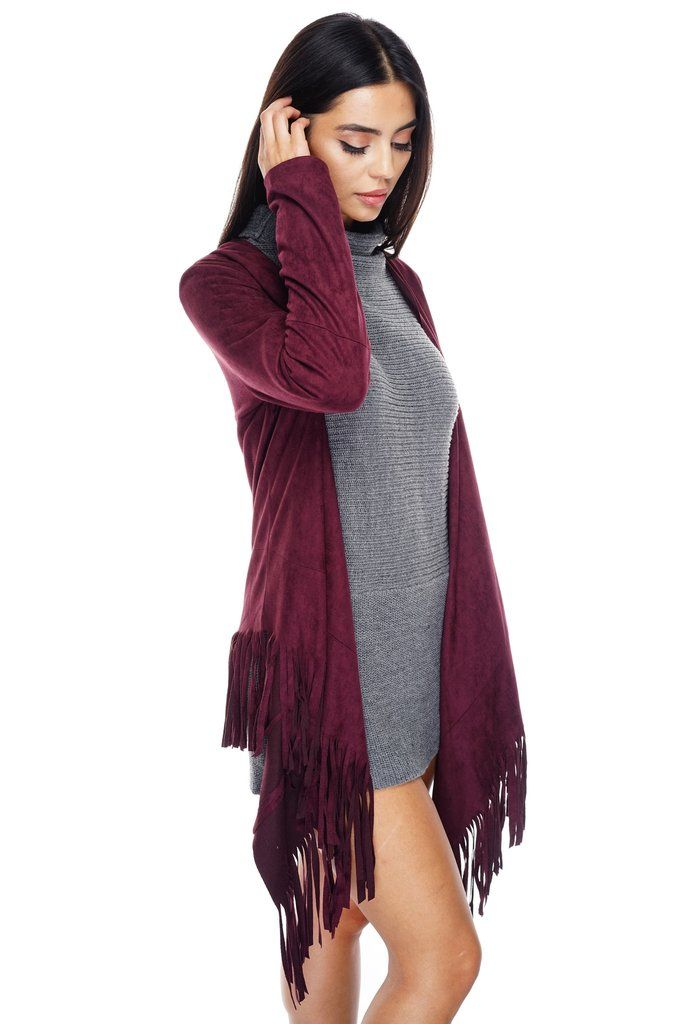 We've taken all the best fall styles and made out Autumn Suede Fringe Cardigan. This faux suede material combined with fringe to create a cardigan style for tho