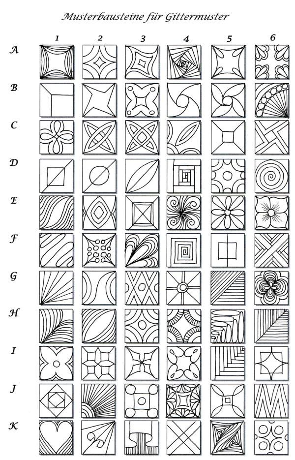 ideas, designs for clay or glass. Eine interessante Musterwahllösung für Gittermuster