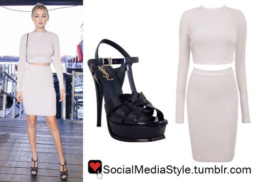 Buy Gigi Hadid's Karl Lagerfeld and Chanel Boat Party Grey Crop Top and Skirt and Navy Sandals, here!