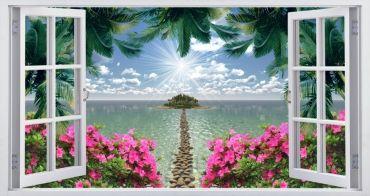 окно цветы море тропинка камни пальмы солнце