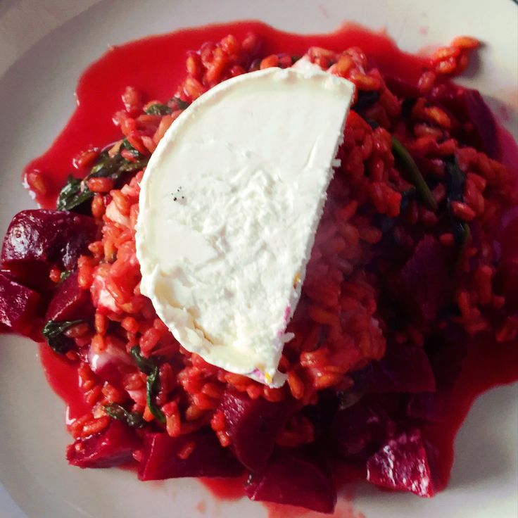 Beetroot & Goats Cheese Risotto. This risotto is made with spelt for a healthy alternative.