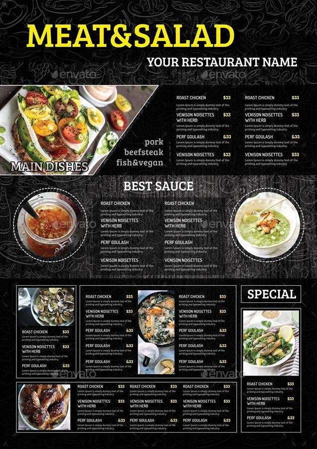 A3 Wall Menu Vol 01 Menu Restaurant Food Menu Design