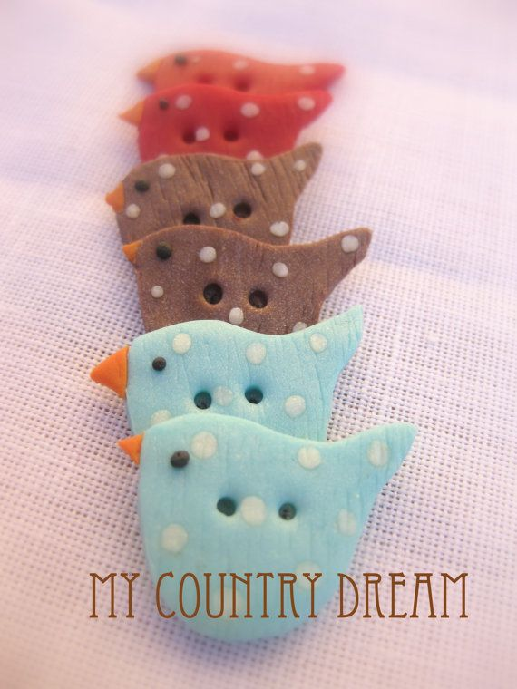 Tilda's birds handmade polymer clay buttons