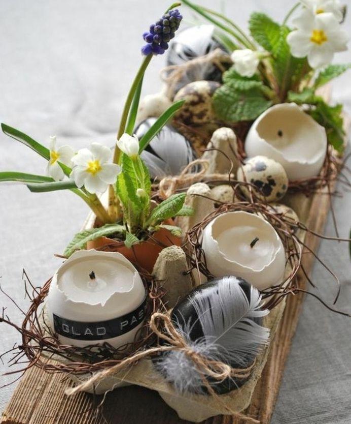 decoration centre de table, bougeoirs coquilles d oeufs, petits bouquets de fleurs, idée activité manuelle paques