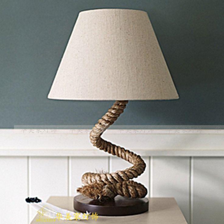 pas cher style am ricain corde de chanvre lampe de table moderne br ve lampe rustique lampes. Black Bedroom Furniture Sets. Home Design Ideas