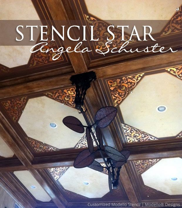 93 best stencil stars great customer stencil projects for Coffered ceiling paint ideas