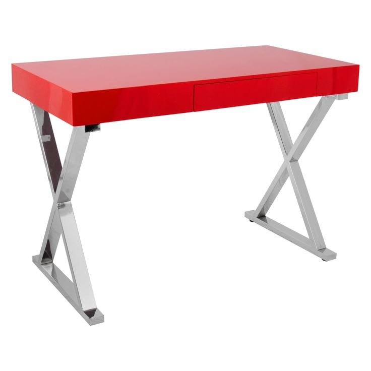 Luster Contemporary Office Desk - Red - Lumisource