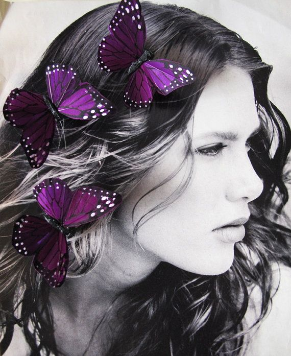 3 PURPLE Feathers  Butterflies Hair Clips for by olgadesigns, $9.00