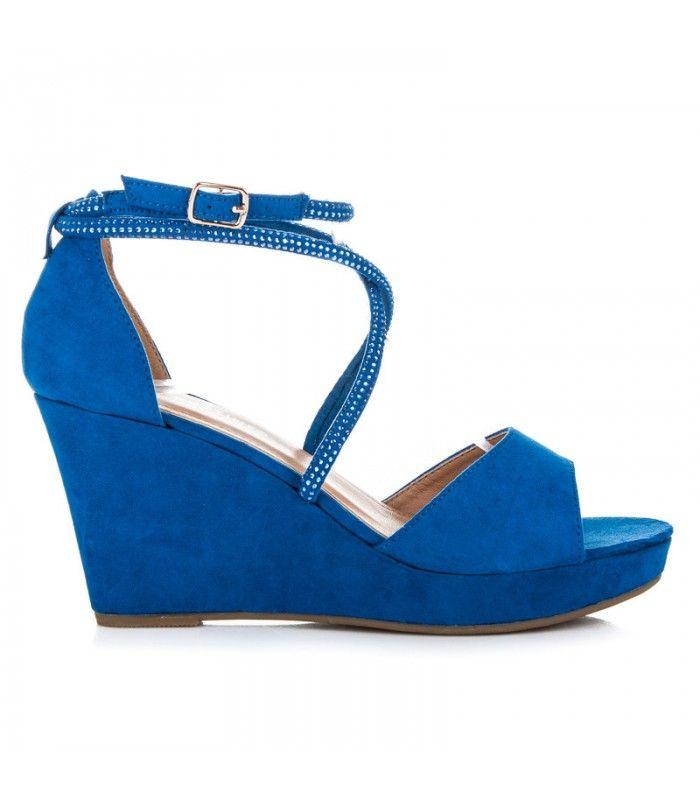 Semišové topánky na kline s ozdobami LBS2806BL