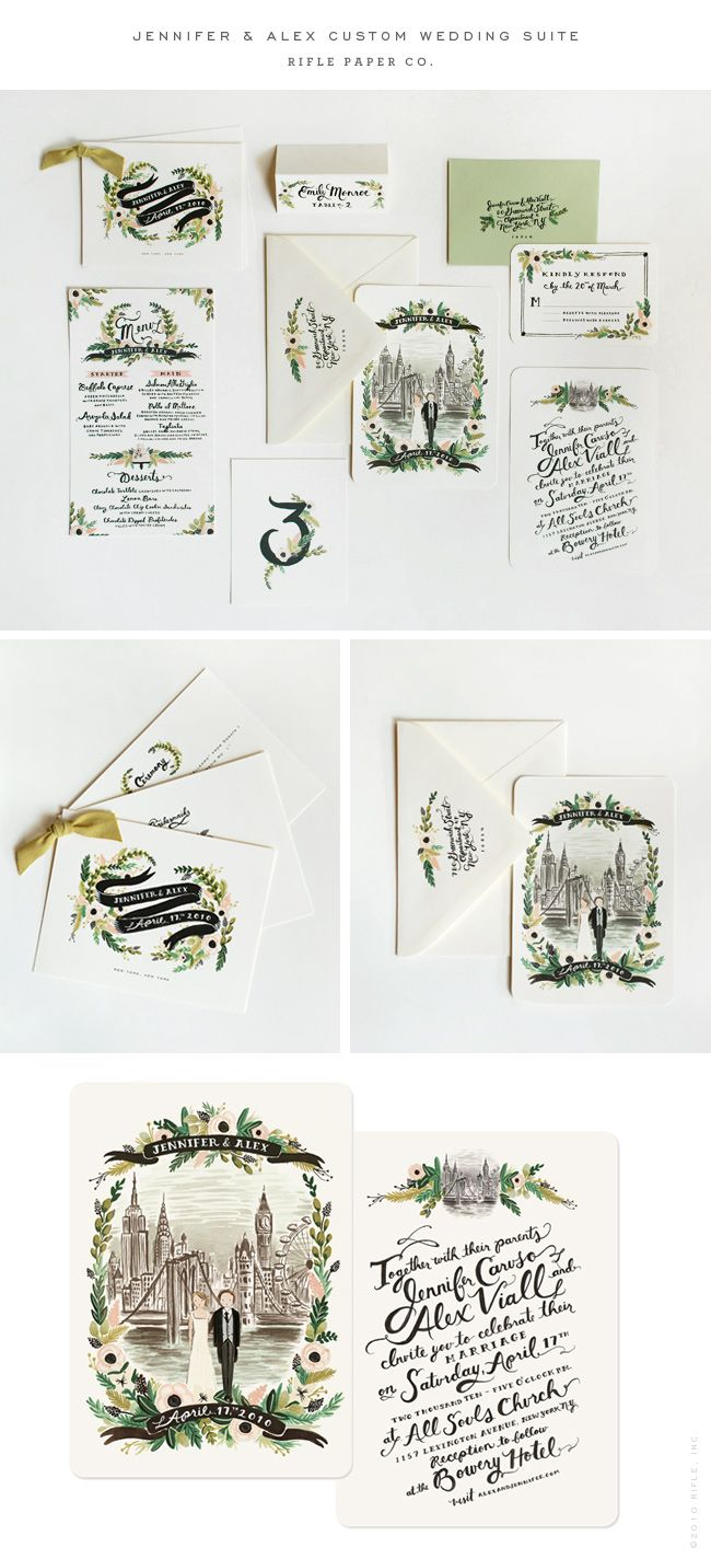 WOW. How gorgeous is this custom wedding invitation set? I love the colors, perfect for a garden wedding with lots of greens and hits of flowers woven in. And it has a drawing of the couple! So beautiful.