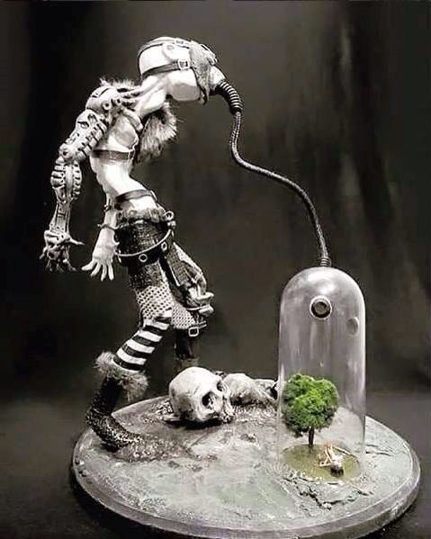 A Sculpture of a Posthuman breathing from the last Tree on Earth. When the last tree is cut, the last fish is caught, and the last river is polluted...when to breathe the air is sickening, you will realize, too late, that wealth is not in bank accounts and that you can't eat money.