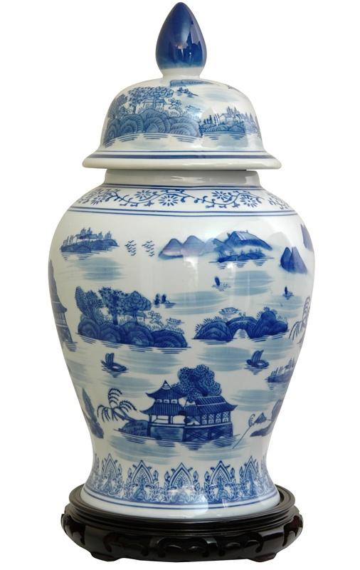 Oriental Furniture Temple Jar with Blue Landscape Design in White