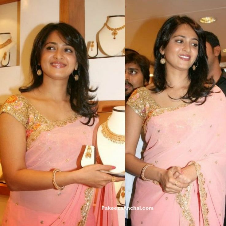 Anushka Shetty in Pink Saree and Party Wear Gold blouse-PakeezaAnchal.com