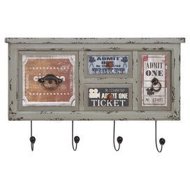 "Distress wall rack with 4 hooks and cinema-inspired accents.   Product: Wall rackConstruction Material: Iron and MDFColor: MultiDimensions: 16"" H x 25"" W x 3"" D"