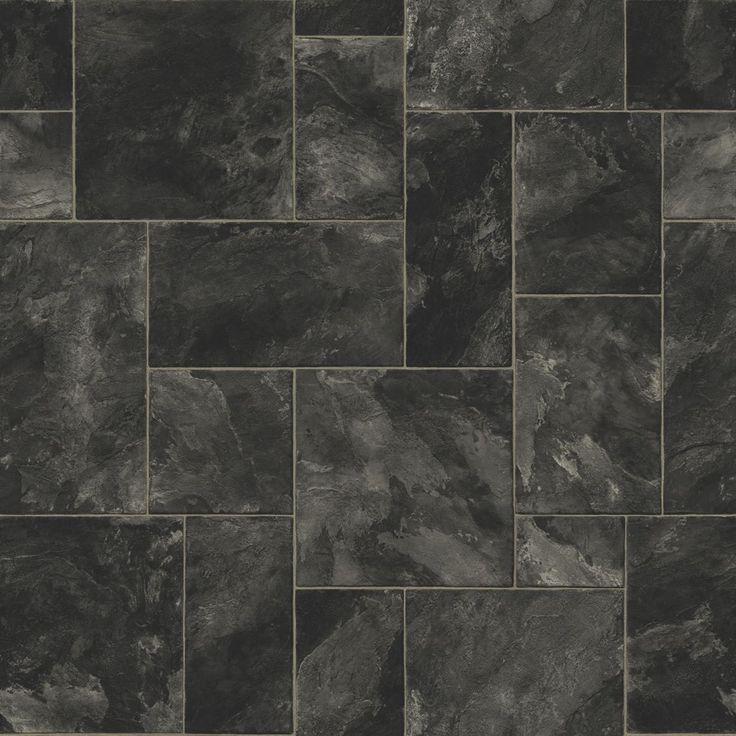 Octavina black vinyl 6m vinyls bathroom and slate for Tile effect vinyl flooring for bathrooms