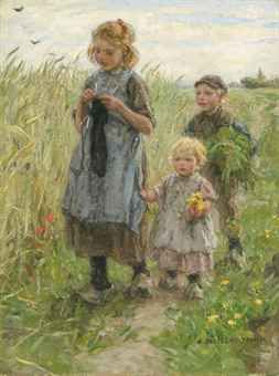 Three Children Walking in a Field - JAN ZOETELIEF TROMP (DUTCH, 1872-1947)