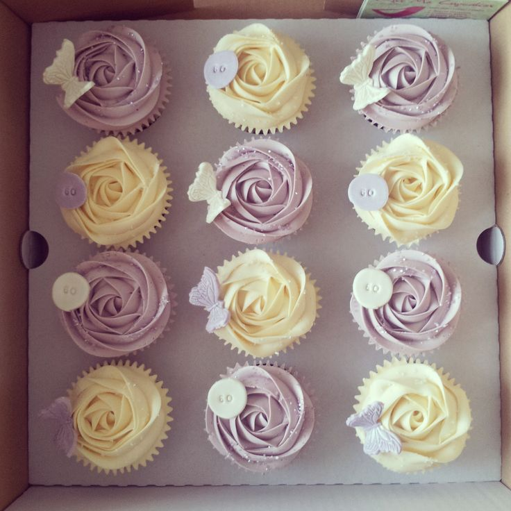 Rose Swirl Cupcakes with butterflies and birthday age