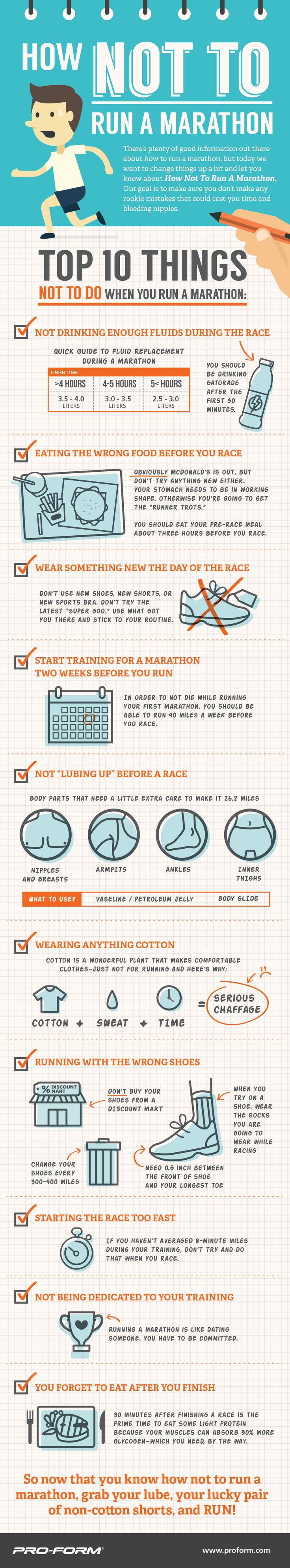 Get healthy, they said. Running will make you fit, they said. Run a marathon, they said. It will be fun, they said! But how do you train for a marathon correctly? I have no idea- but here's our Top 10 List: of How NOT to Run a Marathon - My No-Guilt Life | My No-Guilt Life