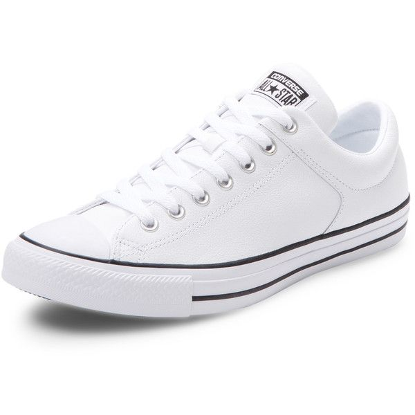 Converse Men's Chuck Taylor All Star High Street Leather Sneaker -... ($49) ❤ liked on Polyvore featuring men's fashion, men's shoes, men's sneakers, white, mens leather shoes, converse mens sneakers, men's low top shoes, mens white shoes and mens low tops
