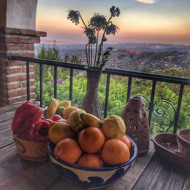 On location cooking class , what a view . Cortijo in Comares with evening views to the coast.