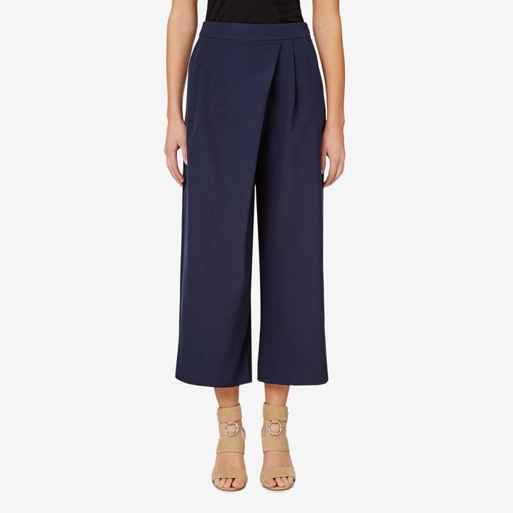 $54 on sale at Seed.  In a slim fitting silhouette with a wide leg design, this culotte is the ideal base for a contemporary style. It features a wrap front design and can be dressed up for work or down for a relaxed and casual occasion. Made from a polyester/elastane blend, this style is available in Ink and in sizes 6 to 14. Our model in the close-up photo wears size 10 and is 179cm tall.